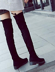 cheap -Women's Shoes Leather Nappa Leather Winter Fashion Boots Slouch Boots Boots Chunky Heel Thigh-high Boots For Casual Black