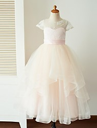 Ball Gown Ankle Length Flower Girl Dress - Lace Tulle Short Sleeves Jewel Neck with Buttons Sash / Ribbon by LAN TING BRIDE®