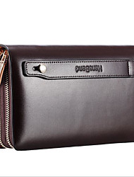cheap -Men Bags Other Leather Type Clutch Zipper for Casual All Seasons Coffee