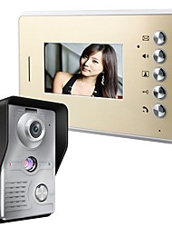 MOUNTAINONE 4.3Inch Video Door Phone Doorbell Intercom Kit with  IR-CUT HD 1000TVL Wired Camera