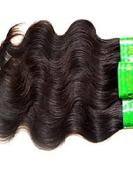 Недорогие -3 части натурального черного девственного индийского человеческого волоса сплетены наращивания волос