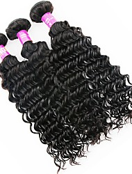 economico -Malese Molto ondulata Capello vergine Ciocche a onde capelli veri 3 pacchetti Tessiture capelli umani Nero Naturale Estensioni dei capelli umani