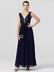 cheap -Sheath / Column V Neck Floor Length Chiffon / Lace Cocktail Party / Prom / Formal Evening Dress with Beading / Appliques by TS Couture®