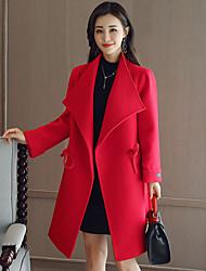 Manteau Femme,Couleur Pleine Sortie Décontracté / Quotidien simple Hiver Manches Longues Longue Acrylique Polyester