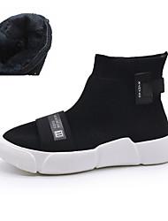 Da donna Scarpe Maglia traspirante Autunno Fodera di pelliccia Comoda Sneakers Per Casual Nero
