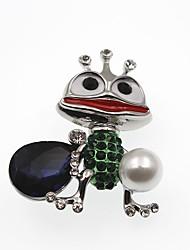 abordables -Homme Femme Broche Saphir synthétique Strass Animaux Décontracté Dessin Animé Adorable Gemme Imitation de perle Alliage Or Argent Bijoux