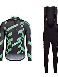 cheap -Men's Long Sleeves Cycling Jersey with Bib Tights - Black/Red Black/Green Bike Bib Tights Jersey Clothing Suits