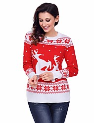 cheap -Women's Casual/Daily Regular Pullover,Print Round Neck Long Sleeves Cotton Acrylic Winter Thick Micro-elastic