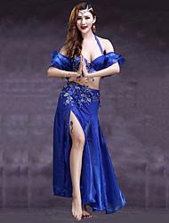 abordables -Danse du ventre Tenue Femme Utilisation Spandex Fendue Fleur Sans Manches Taille basse Jupes Soutien-gorge Ceinture