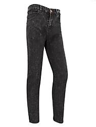 economico -Da uomo A vita medio-alta Semplice Media elasticità Jeans Pantaloni,Tinta unita Cotone Inverno Autunno