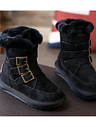 cheap -Boys' Shoes Real Leather Nubuck leather Winter Fall Comfort Snow Boots Boots Walking Shoes Mid-Calf Boots Buckle For Casual Brown Black