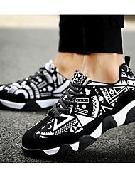 Недорогие -Для женщин Обувь Замша Весна Осень Удобная обувь Кеды для Повседневные Черно-белый Черный/Красный Оранжевый и черный