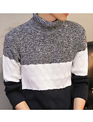 cheap -Men's Daily Regular Pullover,Striped Turtleneck Long Sleeves Others Medium Micro-elastic