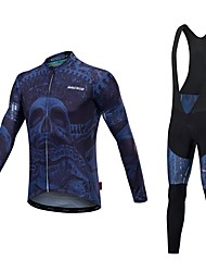 cheap -Malciklo Men's Long Sleeve Cycling Jersey with Bib Tights - Black Bike Clothing Suit, Quick Dry, Anatomic Design, Reflective Strips Lycra / Stretchy / High Elasticity