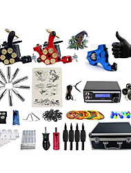 cheap -Tattoo Machine Professional Tattoo Kit 1 rotary machine liner & shader 2 alloy machine liner & shader High Quality LED power supply 2 x