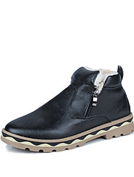 Men's Shoes Nappa Leather PU Winter Comfort Boots for Casual Black Brown