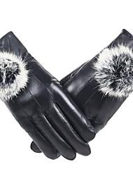 Feminino Cor Pura Acessórios Luvas de Inverno Prova-de-Água Mantenha Quente A prova de Vento Pêlo de Coelho Poliuretano Inverno Até o