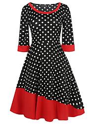 baratos -Mulheres Para Noite Vintage Algodão Bainha Vestido Poá / Retalhos / Vintage Cintura Alta Altura dos Joelhos / Outono / Inverno / Poás
