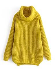 Standard Pullover Da donna-Casual Tinta unita Dolcevita Manica lunga Lana Cotone Altro Primavera/Autunno Medio spessore Elasticizzato