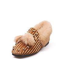 billige -Damer Sko PU Sommer Komfort Sandaler Flade hæle Til Sort Brun