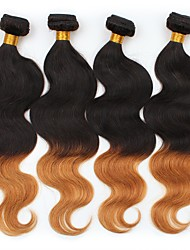 cheap -4 Pieces Black/Medium Auburn Body Wave Peruvian Human Hair Weaves Hair Extensions