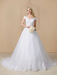 cheap -Ball Gown V-neck Cathedral Train Lace Tulle Wedding Dress with Appliques Lace by LAN TING BRIDE®