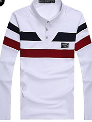 Men's Daily Wear Vintage T-shirt,Striped Shirt Collar Long Sleeves Cotton