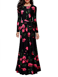 cheap -Women's Daily Going out Holiday Vintage Sexy Sheath Maxi Dress, Floral Round Neck Long Sleeves High Rise