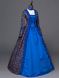 Victorian Rococo Ladies' One Piece Dress Blue Cosplay Satin Long Sleeves Floor Length