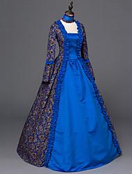 Vitoriano Rococó Mulheres Uma Peça Vestidos Azul Cosplay Manga Longa Longo