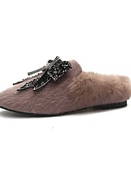 cheap -Women's Shoes PU Winter Comfort Slippers & Flip-Flops Round Toe Feather For Casual Black Khaki
