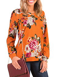 cheap -Women's Daily Going out Vintage Boho Spring/Fall T-shirt,Floral Round Neck Long Sleeves Polyester Medium