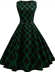 cheap -Women's Going out Vintage Cotton A Line Dress - Check, Print