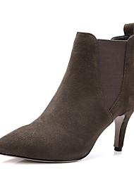 Недорогие -Жен. Обувь Дерматин Зима Модная обувь Ботинки На шпильке Заостренный носок Ботинки для Для праздника Черный Военно-зеленный Миндальный