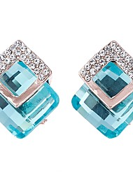 Women's Stud Earrings Basic Fashion Crystal Alloy Square Shape Jewelry For Gift Date