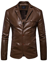 cheap -Men's Daily Going out Street chic Winter Fall Leather Jacket,Solid Peter Pan Collar Long Sleeves Regular PU