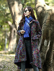 cheap -Women's Cotton Vintage Winter Coat,Geometric V Neck Long Sleeves Long Wool Cotton Acrylic