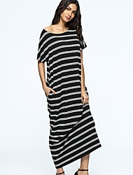 cheap -Women's Tunic Dress - Striped Maxi