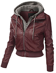 cheap -Women's Daily Simple Casual Winter Fall Leather Jacket,Solid Hooded Long Sleeve Short PU