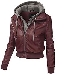 Недорогие -Для женщин На каждый день Зима Осень Кожаные куртки Капюшон,Простой Однотонный Короткая Длинные рукава,Полиуретановая