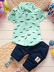 cheap -Boys' Floral Cartoon Clothing Set, Cotton All Seasons Short Sleeves Casual Street chic Blue White Blushing Pink