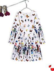 Girl's Event/Party Dailywear Solid Floral Jacquard Dress,Cotton Polyester Long Sleeves