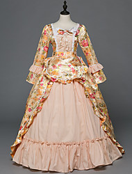 abordables -Victorien Rococo Costume Femme Adulte Bal Masqué Costume de Soirée Rose Vintage Cosplay Satin Stretch Satin Sans Manches Longueur Sol
