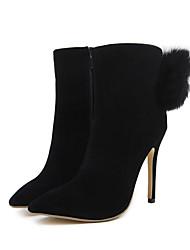 Feminino Sapatos Camurça Todas as Estações Conforto Inovador Botas da Moda Curta/Ankle Botas Peep Toe Botas Curtas / Ankle Penas Para