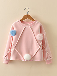 Girls' Solid Blouse,Cotton Winter Fall Long Sleeves Cute Cartoon Red Blushing Pink