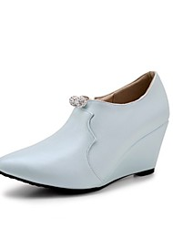 Women's Shoes Customized Materials Leatherette All Season Comfort Novelty Heels Pointed Toe Pearl For Wedding Party & Evening Pink Blue