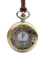 baratos -Mulheres Relógio de Bolso Chinês Quartzo Mostrador Grande Couro Banda Vintage Legal Marrom