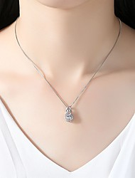 cheap -Women's Cubic Zirconia Rhinestone Cubic Zirconia Silver Pendant Necklace - Simple Elegant Silver Necklace For Wedding Evening Party
