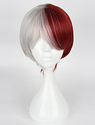 cheap -Synthetic Wig / Costume Wigs Straight Asymmetrical Haircut / With Bangs Synthetic Hair Natural Hairline Red / White Wig Women's Short