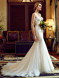 cheap -Mermaid / Trumpet Spaghetti Strap Chapel Train Tulle / Lace Over Tulle Made-To-Measure Wedding Dresses with Appliques / Lace by LAN TING BRIDE® / See-Through / Beautiful Back